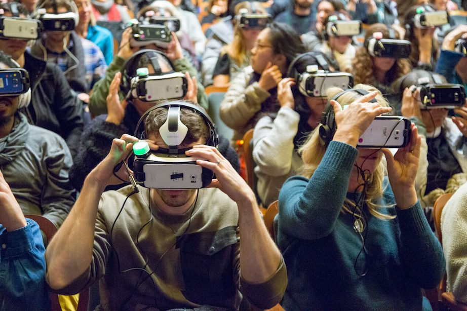 Viewing the virtual reality film Collisions at the 2016 Sundance Film Festival