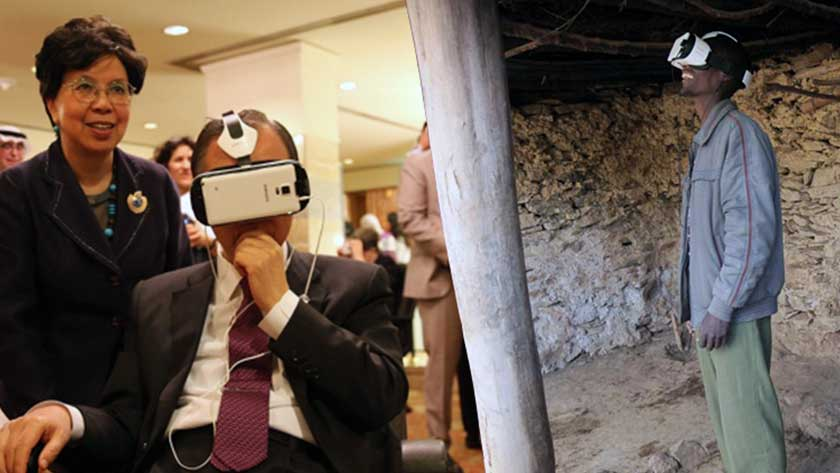 Jim Yong Kim, President of the World Bank and co-founder of Partners In Health, viewing Collisions, a VR film supported by Stories of Change.