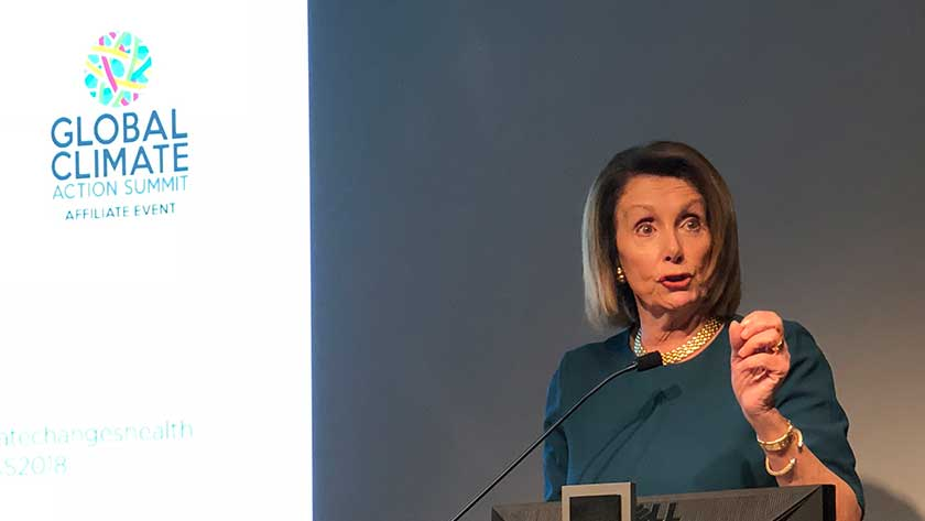 Nancy Pelosi speaking at the Global Climate and Health Forum