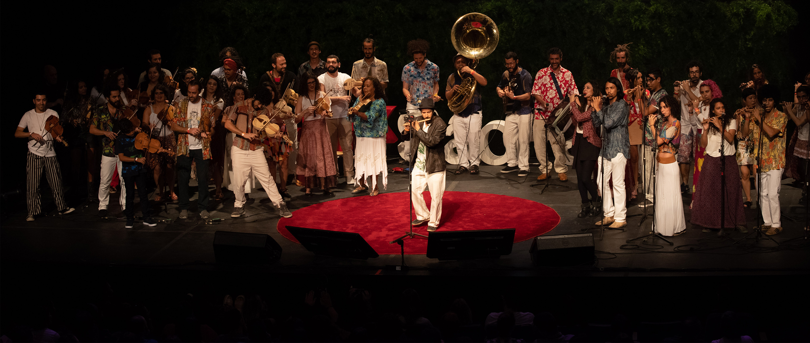 A large orchestral group of artists on stage at TEDxSaoPaulo