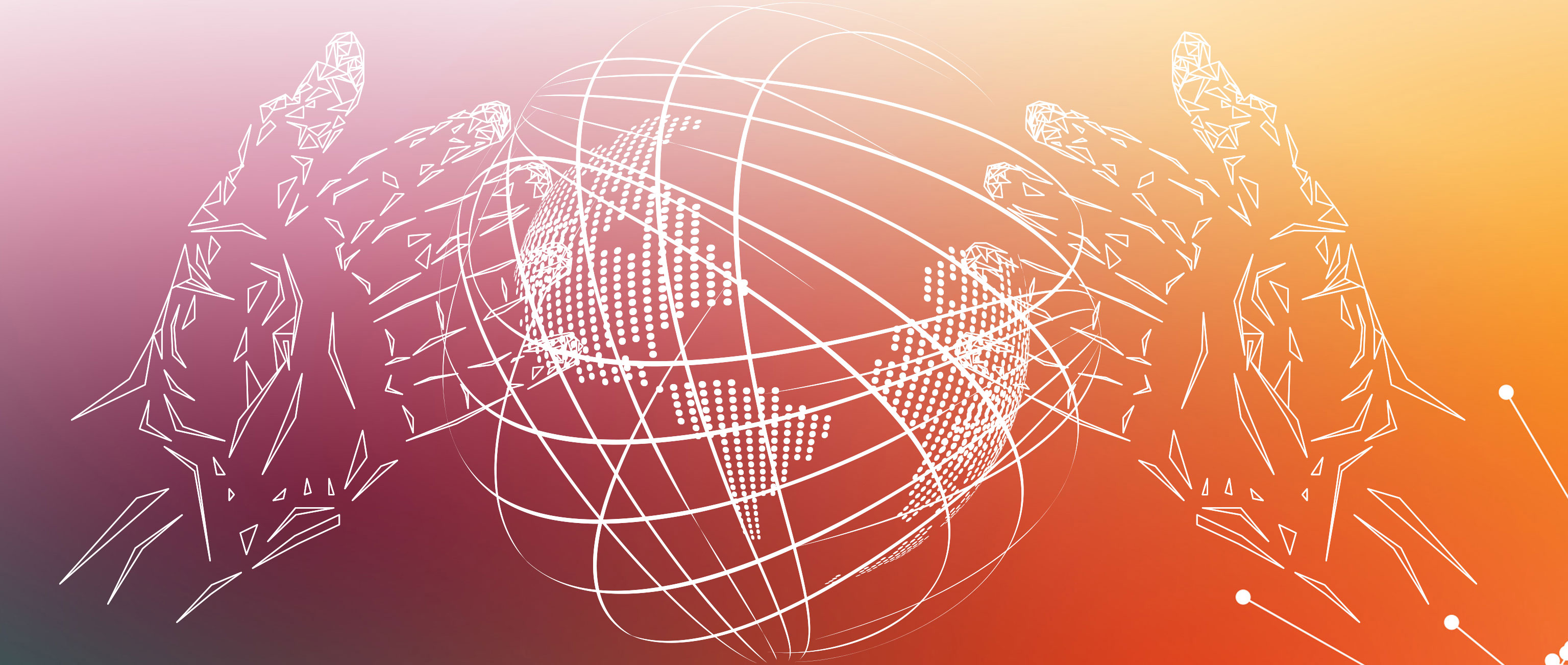 A line illustration of a pair of hands holding the globe with nations connected into a global network